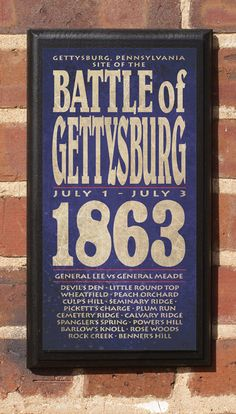 The Civil War Battle of Gettysburg Vintage Style Wall Plaque / Sign via Etsy