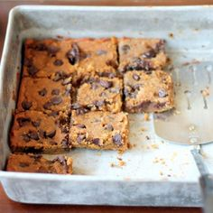 Flourless Chocolate Chip Chickpea Blondies with Sea Salt - Easy Dessert Recipes with Vegetables - Shape Magazine