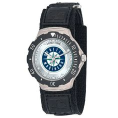 MLB Men's MDV-SEA Agent Series Seattle Mariners Velcro Watch Game Time. $18.72. * Black textured PVC band. * Stainless steel back. * Officially Licensed Team logo. * Quartz Accuracy. * Rotating Bezel. Save 25% Off!