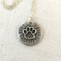 Pet memorial necklace This cat paw or dog paw necklace is a sweet reminder of…