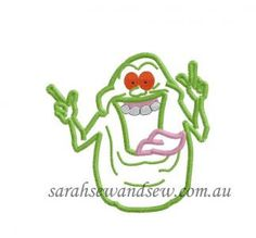 Ghostbusters Slimer Inspired Embroidery Design by SarahSewSew, $4.00