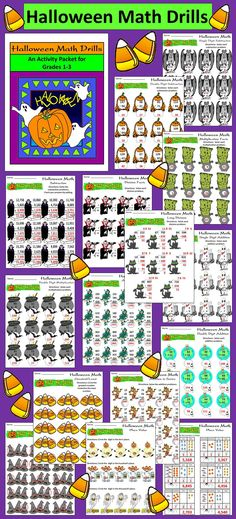 Halloween Math Drills: This packet provides many math exercises with a Halloween theme.  Contents include: * Single  & double digit addition * Double digit addition in series * Triple digit addition in series * Single digit subtraction * Double digit subtraction * Subtraction with addition self-check * Basic multiplication facts * Double digit multiplication * Basic division facts * Long division * Double digit greatest/least * Triple digit greatest/least * Place value  * Answer keys