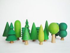 Made To Order Woodland Tree Set (14 pcs) Wooden Tree figurines Toys for kids Learning toys Nature table Montessori toddler