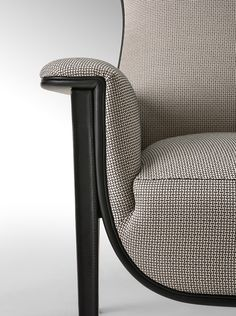 Sneak peek of Salone del Mobile 2015 Milano Fendi Casa collection. Cerva armchair closeup detail, leather and fabric beautiful combination #LuxuryLiving #Saloni2015