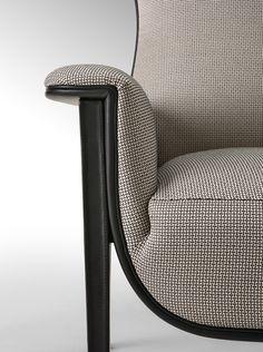 Sneak peek of Salone del Mobile 2015 Milano Fendi Casa collection. Cerva armchair closeup detail, leather and fabric beautiful combination #LuxuryLiving #Saloni2015