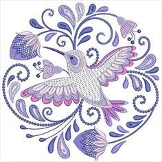 Jacobean Hummingbirds Set 1 by Santi This would be the perfect hummingbird tattoo commemorating my grandma I could ever find. Fitting it's also an embroidery pattern