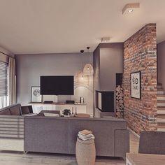 Dajemy cegłę na ścianie z TV czy zostawiamy tak jak jest?  Ranyy w biurze Lovingit tez będzie cegła 😂😂😂😂 To już uzależnienie 😂❤️Nie umiem bez cegły, no nie umiem😂😂😂😂 🇺🇸Shoould we have the wall with brick - the one with TV or is it@perfect right now? What do you think?;) #livingroomdecor #interior4all ##houzz #home #homebook #bricklover #modernlivingroom #interiorproject #inspiration #nostairs #whitestairs