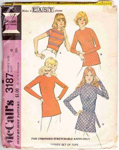 1970s McCalls 3187 Women's Knit Stretch Tops Vintage Sewing Pattern Miss Size 10