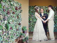 succulent-wedding-ceremony-backdrop - nice but shouldn't cut off at their heads. Probably needs to be taller