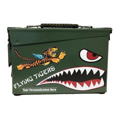 Personalized Flying Tigers Authentic 30 CAL Ammo Can Tiger Flying, Tiger Face Mask, Pinstripe Art, Ammo Cans, Tiger Design, Jerry Can, Garage Art, Pinstriping, Nose Art
