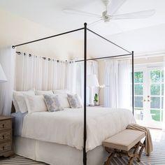 """Who's ready for summer? This East Hampton bedroom is ready for a new season to come! @studioahome @globalviews @wisteriahomedecor @overstock @safaviehrugs @safavieh_official @potterybarn @onekingslane @noirfurniture #Hamptons #beach #bedroom #interiordesign #changoandco #gorgeous #romantic #canopy"" Photo taken by @susana.chango on Instagram, pinned via the InstaPin iOS App! http://www.instapinapp.com (03/12/2015)"