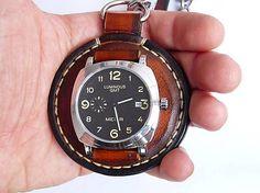 leon / Vreckové kožené hodinky hnedo-čierne