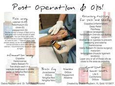Post operation n essential oils