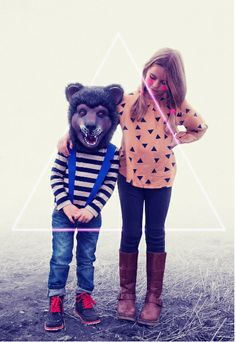 Siblings, mask and triangle.