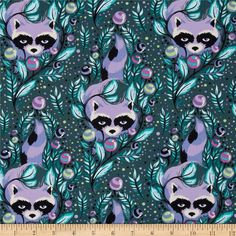 Acacia Raccoon Bluebell from @fabricdotcom  Designed by Tula Pink for Free Spirit, this cotton fabric is perfect for quilting, apparel and home decor accents. Colors include teal, green, black, white and shades of purple.