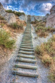 Looks like a stairway to the clouds. Peaceful and pristine looking..Stairway at Badlands National Park, South Dakota