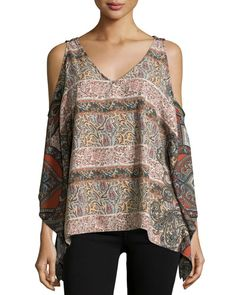 On the Road Killea Paisley Cold-Shoulder Blouse, Olive  New offer @@@ Price :$87 Price Sale $59