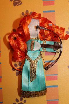 Items similar to Brave Inspired Hair Clip - Disney Inspired Princess Hair Clip on Etsy Ribbon Art, Ribbon Crafts, Flower Crafts, Ribbon Bows, Bow Hair Clips, Hair Bow, Felt Dolls, Paper Dolls, Princess Hairstyles