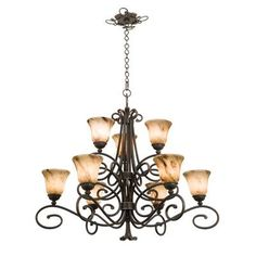 Kalco Amelie 9 Light Shaded Chandelier Finish: Antique Copper, Shade Type: Super Buddha Leaf- NS09