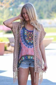 Crochet Knit Fringe Kimono (Taupe)