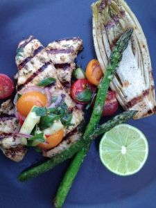 thumbs grilled chicken paillard with tomato herb salad 36 Grilled Chicken Paillard