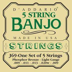 DAddario J69 5-String Banjo Phosphor Bronze Strings Light 9-20