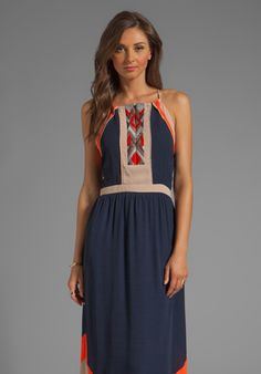 Greylin Amanda Embroidered Maxi Dress