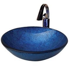 Yosemite Home Decor�5-1/2-in D Blue Polished Glass Round Vessel Sink