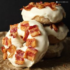 Maple Bacon Donuts- a delicious cake donut, sweet maple glaze, and salty bacon make the most perfect treat. So easy!