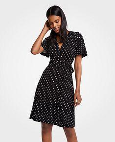 Black & White Polka Dot Wrap Dress