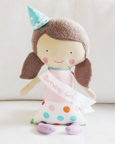 Birthday Girl Doll Pattern by Elf Pop - Rag Doll Sewing with hat and sash - Free gift pattern available at http://elfpop.blogspot.co.uk/2014/02/birthday-girl-doll-with-free-gift.html