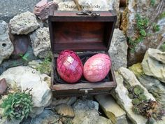 Choose colors of your dragon eggs. Dragon eggs come in wooden chest, with dragon story. by DesignByWendyBgd #dragoneggs #dragons #fantasy #geek #geekdecor #fantasy art #fantasydecor #costume #costumeaccessories Dragon Eggs in Wooden Chest Geek Gifts Fantasy Decor by DesignByWendyBgd