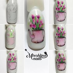 МК «Tulips»  ___________________ роспись выполнена гель-лаками wula. ⬇️⬆️ ⬇️⬆️ ⬇️⬆️ #мк_мирошкиной #маникюрмосква #росписьгельлаками #мк_ногти #тюльпаны