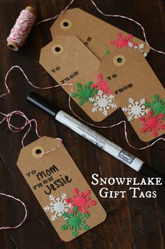 DIY Snowflake Gift Tags -Momo
