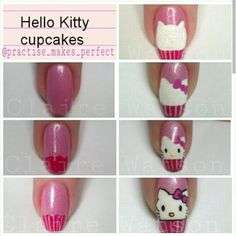 Hello Kitty Cupcakes, Hair And Nails, Nail Art, How To Make, Beauty, Instagram, Cats, Fashion, Fingernail Designs