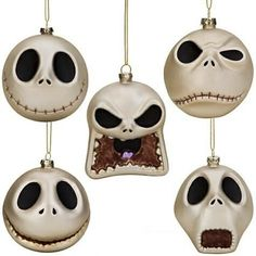 Jack Skellington head glass ornament set $45.00--this would be a cool wedding gift
