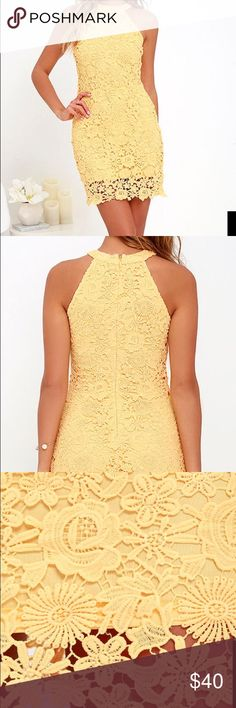 Yellow lace dress A lively pattern of floral lace creates an eye-catching overlay atop knit fabric. Halter neckline and darted sleeveless bodice transition into a chic, sheath skirt. Hidden back zipper with clasp. Fully lined. 100% Polyester. Hand Wash Cold. Imported. Lulu's Dresses Midi