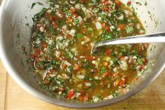 Argentinian Chimichurri recipe. originally served with steak, but you can substitute chicken or fish.
