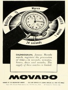 Vintage Watches Collection : 1945 Movado ad - Watches Topia - Watches: Best Lists, Trends & the Latest Styles Retro Ads, Vintage Ads, Vintage Posters, Antique Watches, Vintage Watches, Modern Watches, Watches For Men, Watch Drawing, Art Deco Watch