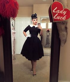 Dress is , corseted heels are , gloves and jewelry are vintage. Rockabilly Moda, Moda Pinup, Rockabilly Fashion, Retro Fashion, Vintage Fashion, Rockabilly Style, Pin Up Outfits, Retro Outfits, Vintage Outfits