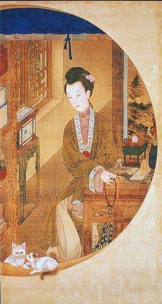 "十二美人圖。雍親王題書堂深居圖屏『捻珠觀貓』,1709-1723。""The Twelve Beauties,"" ""Twelve Concubines of the Emperor Yongzheng""#11"