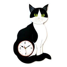 gattoso orologio in legno dipinto a mano www.gattosi.com