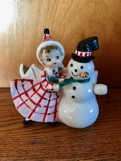 Vintage Christmas girl snowman planter HF Co Japan
