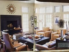 Sofa at back + 4 chairs--2 different., +2 stools. Simple modern
