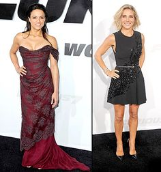 Michelle Rodriguez and Elsa Pataky model sexy styles at the Los Angeles premiere of Furious 7 on April 1.