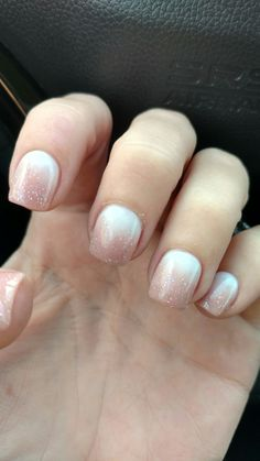 Nude and white glitter ombre nails. Love my nails!!