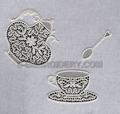 A lace tea set : now here's something you don't see everyday!