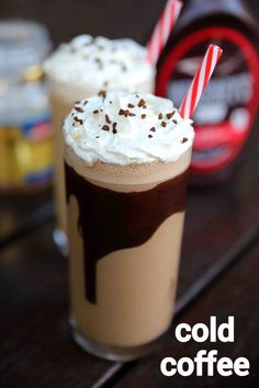 cold coffee recipe | cold coffee milkshake | coffee milkshake recipe with step by step photo and video recipe. perhaps one one the popular and addictive milkshake recipe, because of its taste and of course caffeine. there are several variations and toppings for this classic beverage, but this is a simple cold coffee milkshake recipe. Snacks Für Die Party, Coffee Drink Recipes, Recipe Of Cold Coffee, Frozen Coffee Drinks, Cold Coffee Drinks, Cold Drinks, Indian Dessert Recipes, Spicy Recipes, Puri Recipes
