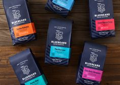 """Seattle-based studio Partly Sunny, developed this bold visual identity and retail packaging system for Bluebeard Coffee Roasters. """"Style and simplicity helped Bluebeard cut through the… Coffee Packaging, Coffee Branding, Brand Packaging, Design Packaging, Label Design, Retail Packaging, Coffee Labels, Wine Packaging, Best Coffee Roasters"""