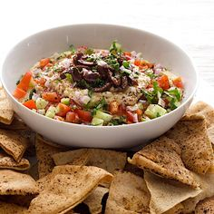 Greek 7 Layer Dip with Baked Spiced Pita Chips